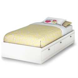 South Shore Affinato Twin Mates Bed in Pure White