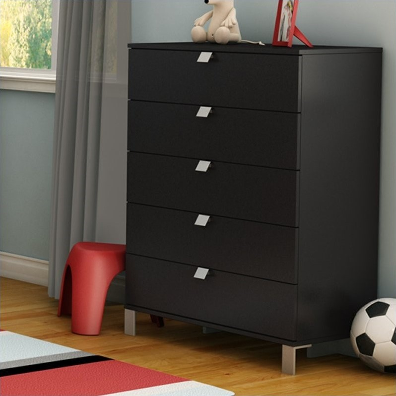 South Shore Affinato 5 Drawer Chest in Solid Black Finish