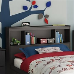 South Shore Affinato Bookcase Headboard in Black