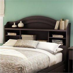 South Shore Summer Breeze Bookcase Headboard in Chocolate Finish
