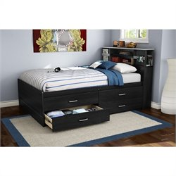 South Shore Cosmos Full Captain's Bed in Black Onyx