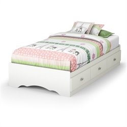 South Shore Sabrina Twin Mates Storage Bed in Pure White
