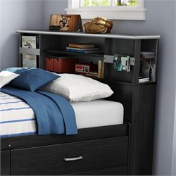 South Shore Cosmos Full Bookcase Headboard in Black