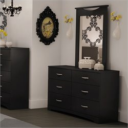 South Shore Maddox Dresser and Mirror Set in Black