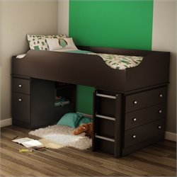 South Shore Treehouse Twin Loft Bed in Chocolate