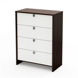 South Shore Cookie 4 Drawer Chest in Mocha & White