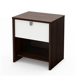 South Shore Cookie Nightstand in Mocha & White