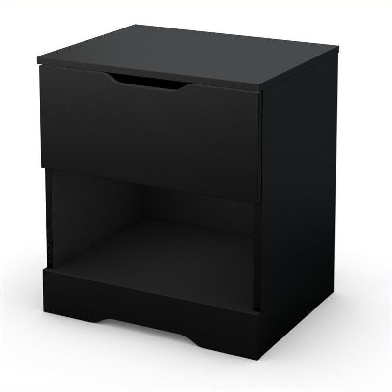South Shore Trinity Night Stand in Pure Black