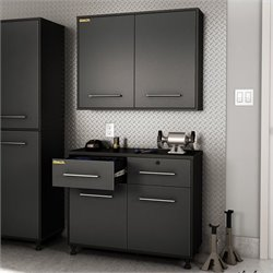 South Shore Karbon Base and Wall Storage Cabinets in Pure Black and Charcoal