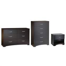 South Shore Back Bay Dresser with Chest and Nightstand Set in Dark Chocolate