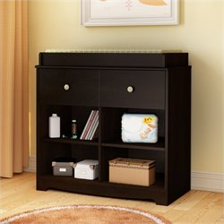 South Shore Little Teddy Country Style Changing Table in Chocolate