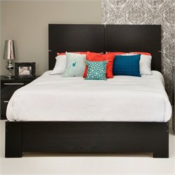 South Shore Mikka Contemporary Style Queen Platform Bed in Black Oak