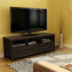 South Shore Exhibit Transitional Style TV Stand in Mocha