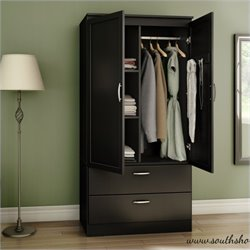 South Shore Acapella Wardrobe Armoire in Pure Black