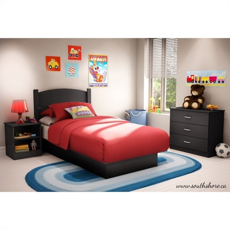South Shore Libra Twin 3 Piece Bedroom In A Box In Pure Black 3070223