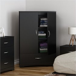 South Shore Step One Armoire in Pure Black