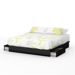 South Shore Step One King Platform Bed with Drawers in Pure Black