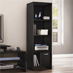 South Shore Step One Shelf Bookcase in Pure Black
