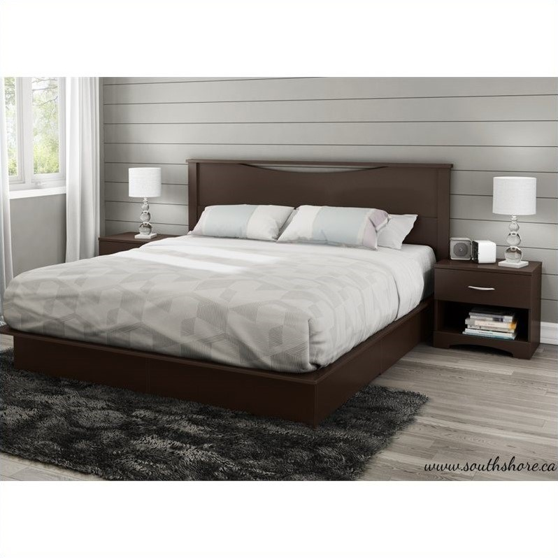 South Shore Step One King Platform Bed With Drawers In