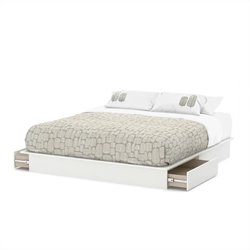 South Shore Step One King Platform Bed with Drawers in Pure White