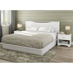 South Shore Step One King 4 Piece Bedroom Set in Pure White