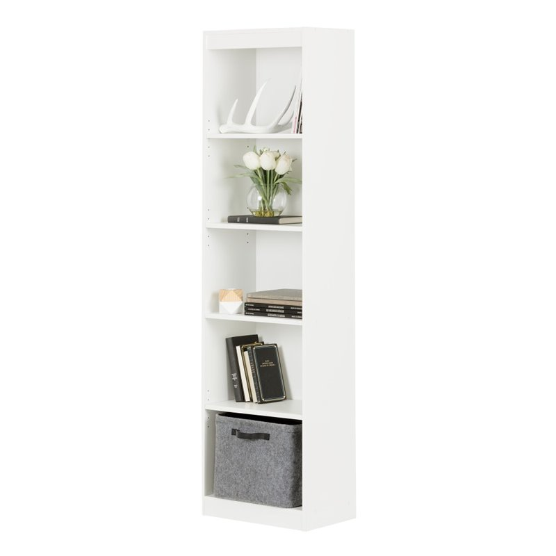 south shore axess 5 shelf narrow bookcase in pure white. Black Bedroom Furniture Sets. Home Design Ideas