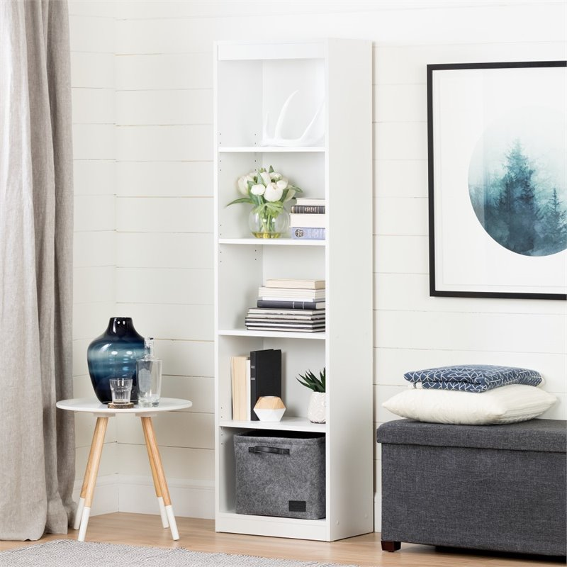 South Shore Axess 5-Shelf Narrow Bookcase in Pure White