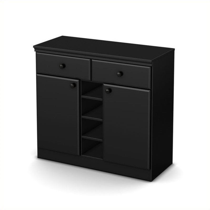South Shore Morgan Storage Console in Pure Black
