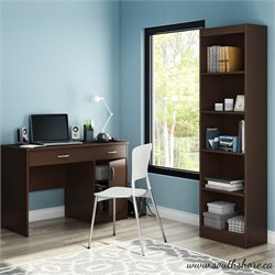 South Shore Axess 2 Piece Office Set with Narrow Bookcase in Chocolate