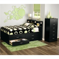South Shore Back Bay 3 Piece Full Captains Bedroom Set in Pure Black