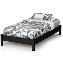 South Shore Step One Twin Platform Bed in Pure Black