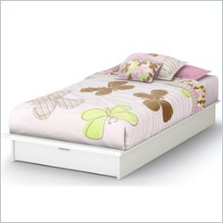 South Shore Step One Twin Platform Bed in Pure White