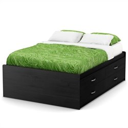 South Shore Lazer Full Captain Bed (54'') in Black Onyx