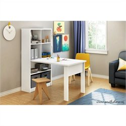 South Shore Annexe Work Table and Storage Unit Combo in Pure White