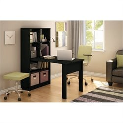 South Shore Annexe Craft Table and Storage Unit Combo in Pure Black