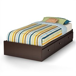 South Shore Zach Twin Mates Bed in Chocolate