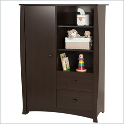 South Shore Beehive 2 Drawer Armoire in Espresso
