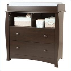 South Shore Beehive 2 Drawer Changing Table in Espresso
