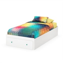 South Shore Little Monsters Twin Mates Bed with Drawer in Pure White