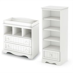 South Shore Savannah Changing Table and Shelving Unit with Drawer