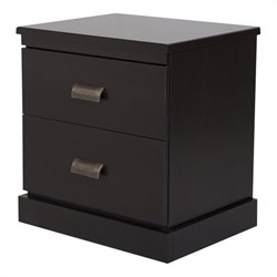 South Shore Gloria 2 Drawer Night Stand in Chocolate