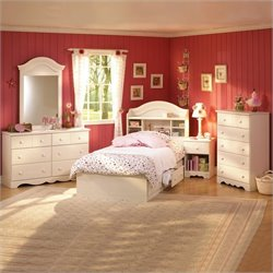 South Shore Summer Breeze 3 Piece Kids Twin Bookcase Bedroom Set in Cream