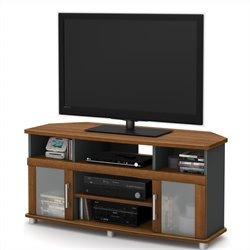 South Shore City Life Corner TV Stand in Morgan Cherry and Charcoal