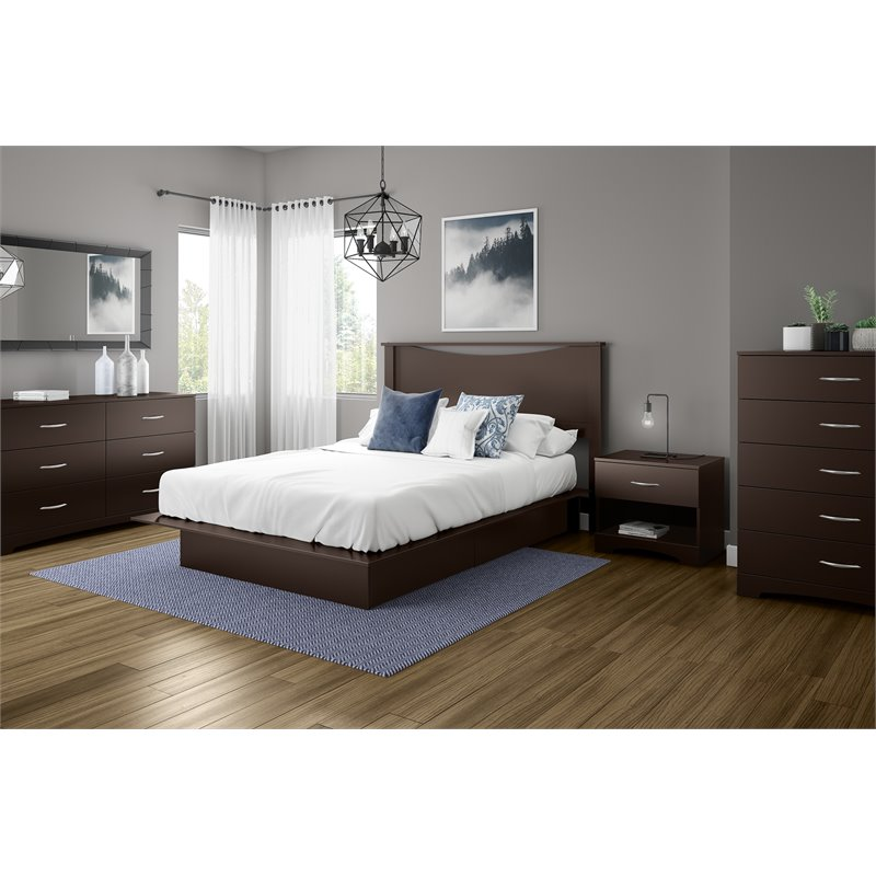 South Shore Back Bay Full/Queen Panel Headboard in Brown