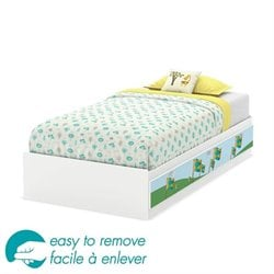 South Shore Andy Twin Mates Bed with Drawers and Flag Decals in White