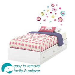 South Shore Joy Twin Mates Flowers Decal Bed with Drawers in White