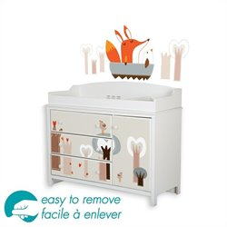 South Shore Cotton Candy Baby Changing Table with Decals Set in White