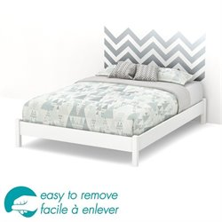 South Shore Step One Queen Gray Decal Platform Bed and Legs in White