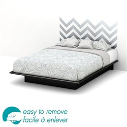 South Shore Step One Queen Gray Decal Platform Bed in Black