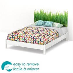 South Shore Step One Queen Grass Decal Platform Bed and Legs in White